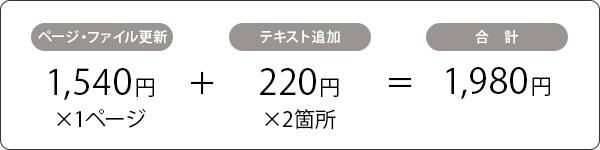 ページ・ファイル更新費 500円×1+テキスト追加 1,000円×2=2,500円+消費税